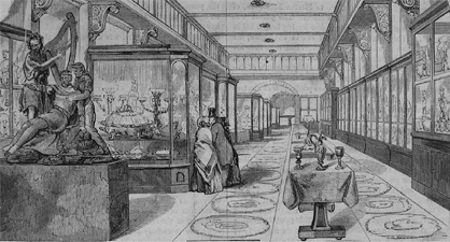 Elkington showroom in Birmingham rond 1880
